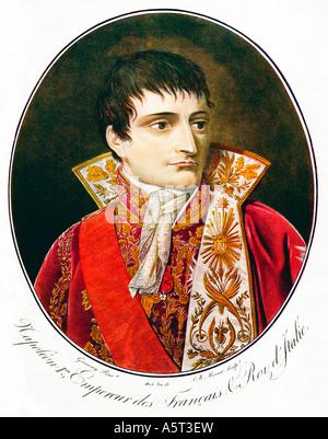 Napoleon 1er Empereur des Francais ein Porträt von JB Morret nach Garnerey aus dem Roman Krönung Jahr 1805 - Stockfoto