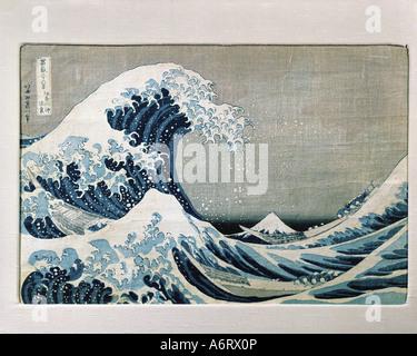 """""""Bildende Kunst, Katsushika Hokusai (1760-1849),""""Unter die große Welle vor Kanagawa"""", Holzschnitt, ca. 1831, H. - Stockfoto"""