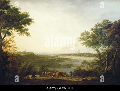 """""""Fine Arts, Dorner, Johann Jakob, der ältere (1766-1813),""""Ansicht von München"""", Malerei, 1806, Öl auf Leinwand, - Stockfoto"""