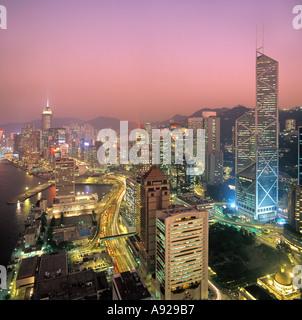 Blick über Central District bei Nacht genommen 1992, Hong Kong Island, Hongkong, China, - Stockfoto