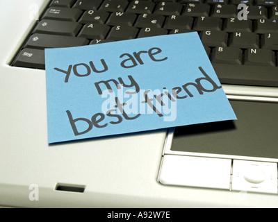 Memo Hinweis auf Notebook: Du bist mein bester Freund - Stockfoto