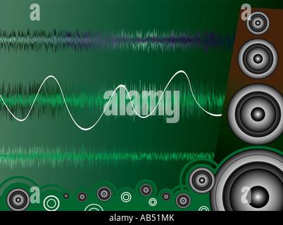 Ein Moise zugehörige Bild zeigt einen gezeichneten Lautsprecher und Schallwellen - Stockfoto