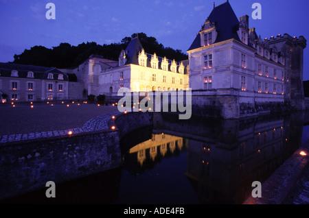 Loire Tal Frankreich Chateau de Villandry Gärten bei Nacht - Stockfoto