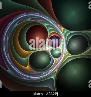abstrakte Fraktal 3D-Bild ähnlich metallische Kugeln in verdrehten Stoff - Stockfoto