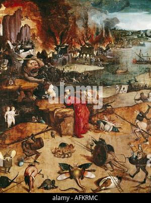 """""""Fine Arts, Bosch, Hieronymus (ca. 1450-1516), Malerei,""""die Versuchung des Heiligen Antonius"""", Prado, Madrid, Spanien, - Stockfoto"""