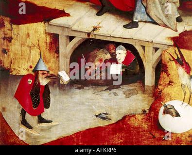 """""""Bildende Kunst, Bosch, Hieronymus (ca. 1450-1516), Malerei,""""die Versuchung des Heiligen Antonius"""", linker Flügel, - Stockfoto"""