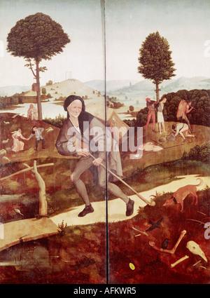 """""""Fine Arts, Bosch, Hieronymus (ca. 1450-1515), Malerei,""""der Heuwagen"""", äußeren Flügel,""""der Wanderer"""", 1500-1502, - Stockfoto"""