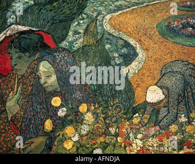"""""""Fine Arts, Gogh, Vincent van, (1853-1890), Malerei,""""Erinnerungen des Gartens an Etten oder Damen von Arles"""", November - Stockfoto"""
