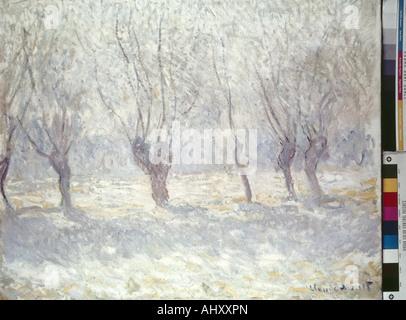 Bildende Kunst, Monet Claude (1840-1926), Malerei, Winterlandschaft, Göteborg Museum of Art, Schnee, Kälte, Bäume, - Stockfoto