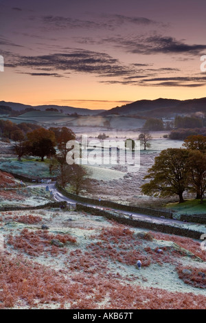 Frostiger Morgen, kleine Langdale, Lake District, Cumbria, England - Stockfoto