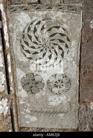 Detail von einem Wikinger-Bild-Stein in Bro, Gotland, Schweden - Stockfoto