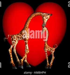 Gabby Giraffe zeigt Zuneigung zu ihrem Sohn, indem man ihm ein Küsschen auf den Kopf. Valentines sind nicht nur - Stockfoto