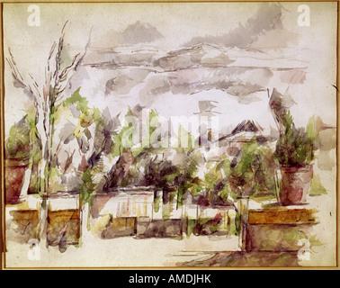 Bildende Kunst, Cezanne, Paul, (1839-1906), Malerei, Landschaft, Aquarell und Bleistift, Kunsthaus Zürich, Französisch, - Stockfoto