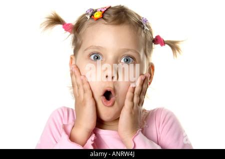 Überrascht, kleines Mädchen - Stockfoto