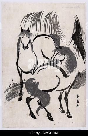 Zwei Pferde unter einer Weide Baum fehlen und einfache weiße Marmor dekorieren Dekoration Schönheit Tier frei wild - Stockfoto