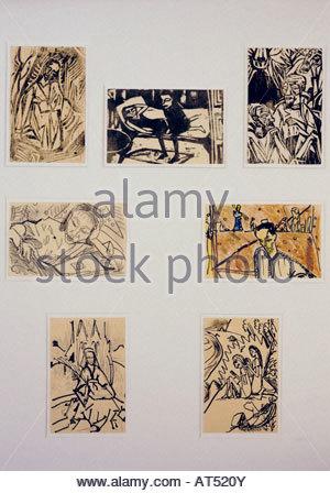 """""""Fine Arts, Heckel, Erich (1883-1970), Grafik, Postkarten, Franz Marc Museum, Kochel am See, Deutschland, 1912-1914, - Stockfoto"""
