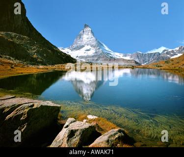 CH-Wallis-Matterhorn mit Riffelsee - Stockfoto