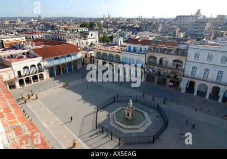 Plaza Vieja gesehen von oben, Havanna, Kuba - Stockfoto