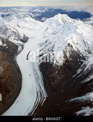 Mount Tasman-Gletscher, aerial shot, Aoraki/Mount Cook Nationalpark, Südinsel, Neuseeland - Stockfoto