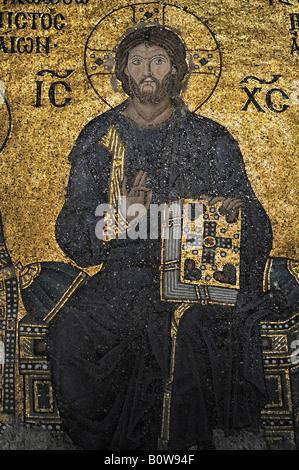 Byzantinische Mosaik von Jesus in der Hagia Sophia, Istanbul, Türkei - Stockfoto