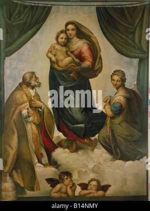 """Bildende Kunst, Raffael, (Raffaello Santi), Öl 1483-1520, Malerei, """"Sixtinische Madonna"""" (mit Heiligen Sixtus und - Stockfoto"""