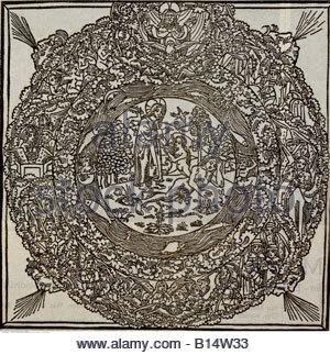 """Bildende Kunst, religiöse Kunst, Adam und Evas Erschaffung Evas, Holzschnitt, Illustration aus """"Lübecker Bilderbibel"""", - Stockfoto"""
