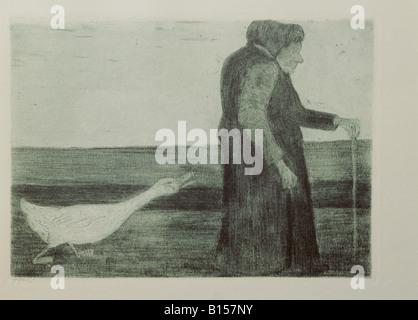 "Bildende Kunst, Modersohn-Becker, Paula (1876-1906), Grafik, ""Frau mit Gans"", Radierung, Aquatinta, 1902, Kunsthalle - Stockfoto"