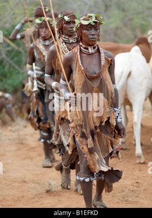 """Eine Gruppe von Hamar Frauen tanzen in einer Zeremonie """"Jumping des Stieres"""". Die Hamar sind semi-nomadische Hirten - Stockfoto"""