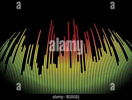 Abstrakte musikalische Untermalung zeigt einen Grafiken-Equalizer in schwarz - Stockfoto