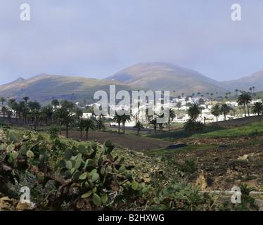 Geographie / Reisen, Spanien, Kanarische Inseln, Lanzarote, Haria, Stadt, Vulkan-Inseln - Stockfoto