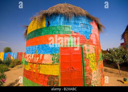 Künstlerkolonie, große Thar-Wüste, in der Nähe von Jaisalmer, Rajasthan, Indien, Subkontinent, Asien - Stockfoto