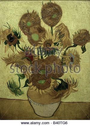 """Bildende Kunst, Gogh, Vincent van (1853-1890), Malerei, """"Vierzehn Sonnenblumen in einer Vase"""", 1889, Öl auf Leinwand, - Stockfoto"""