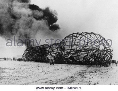 """Verkehr/Transport, Luftfahrt, Luftschiffe, Zeppelin, Katastrophe von LZ 129 """"Hindenburg"""" in Lakehurst, New Jersey, - Stockfoto"""