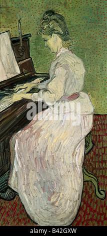 """Bildende Kunst, Gogh, Vincent van (30.3.1853 - 29.7.1890), Malerei, """"Marguerite Gachet am Klavier"""", 1890, Öl auf - Stockfoto"""