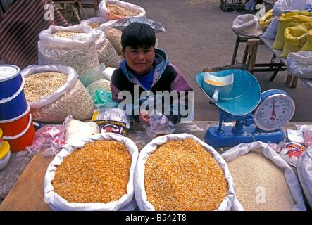 Ecuadorans, ecuadorianischen, Junge, Junge, Kind, Anbieter, Vorderansicht, indischen Markt, Markt, Marktplatz, zumbahua, - Stockfoto