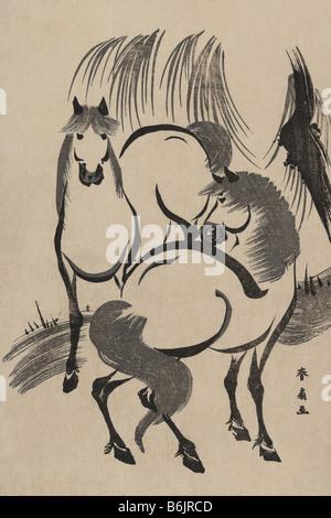 Pferde unter einer Weide. - Stockfoto