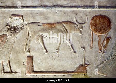 Relief aus dem Tempel von Sethos arbeite ich bei Abydos, Niltal Ägyptens - Stockfoto