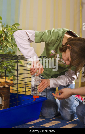 Mutter und Tochter bereitet einen Käfig für Meerschweinchen oder Kaninchen, Trinkflasche Befestigung - Stockfoto