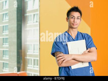 Ein Porträt von einem Krankenpfleger - Stockfoto