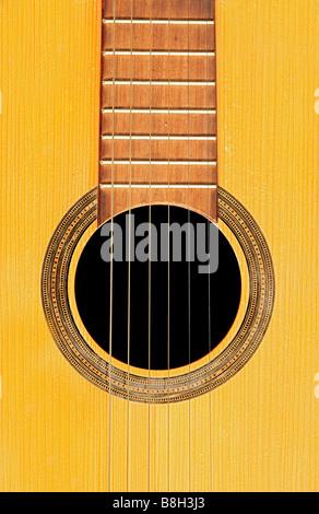 Detail der akustischen Gitarre - Resonanz - Stockfoto