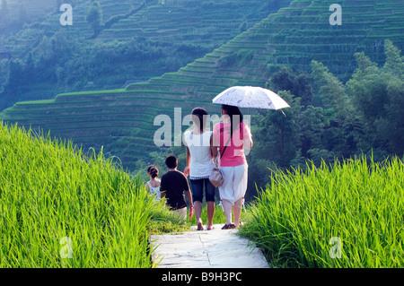 China, Provinz Guangxi, Longsheng Dragon Backbone-Reis-Terrassen in der Nähe von Guilin. Touristen zu Fuß durch - Stockfoto