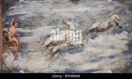 Fresko an der Loggia del Romanino Castello del Buonconsiglio Trient Trento Trentino Italien - Stockfoto