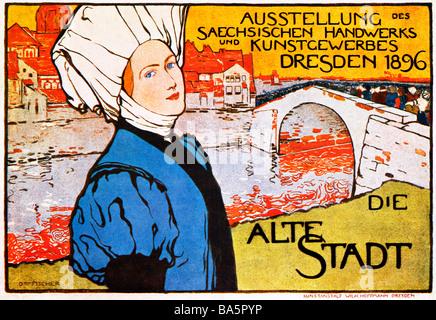 Alte Stadt Dresden 1896 Plakat für eine Ausstellung der sächsischen Kunst und Kunsthandwerk in der Landeshauptstadt - Stockfoto