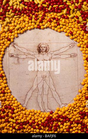 Leonardo Da Vinci im Kreis der Pillen - Stockfoto