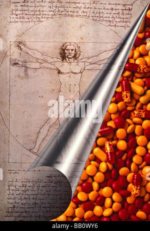 Leonardo Da Vinci curl Seite mit Pillen - Stockfoto