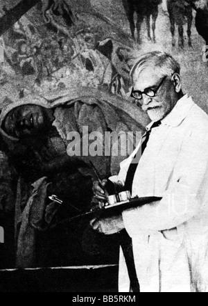 Mucha, Alfons Maria, 24.7.1860 - 14.7.1939, tschechischer Maler, Grafiker, halbe Länge, in seinem Studio, arbeiten, - Stockfoto