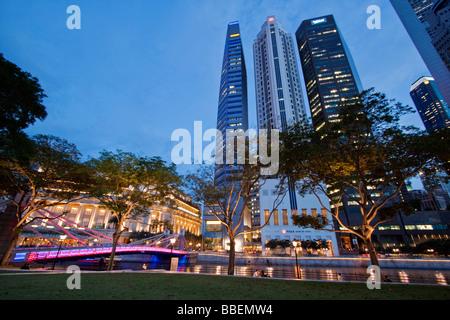 Singapur Skyline Panorama Fullerton Hotel, Singapur, travelstock44 - Stockfoto