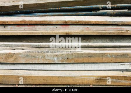 Haufen von Holzbohlen, Nahaufnahme - Stockfoto
