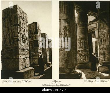 Geographie / Reisen, Ägypten, Abydos, Tempel von König Seti ich (19. Dynastie), innere besichtigen, 1930er Jahre, - Stockfoto