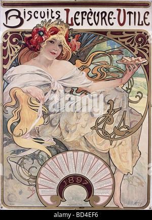 Bildende Kunst, Mucha, Alfons (1860-1939), Poster, 1897, Werbung für Kekse Lefevre-Utile, Lefèvre Utile, Jugendstil, - Stockfoto